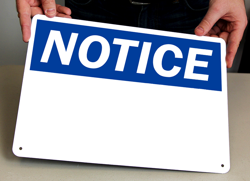 Write-On Notice Signs