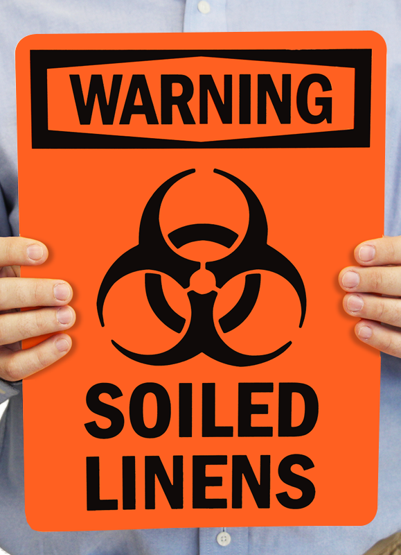 Warning Soiled Linens Signs