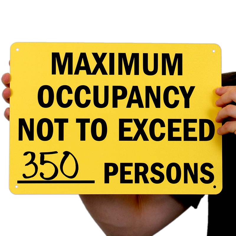 Maximum Occupancy Persons Signs