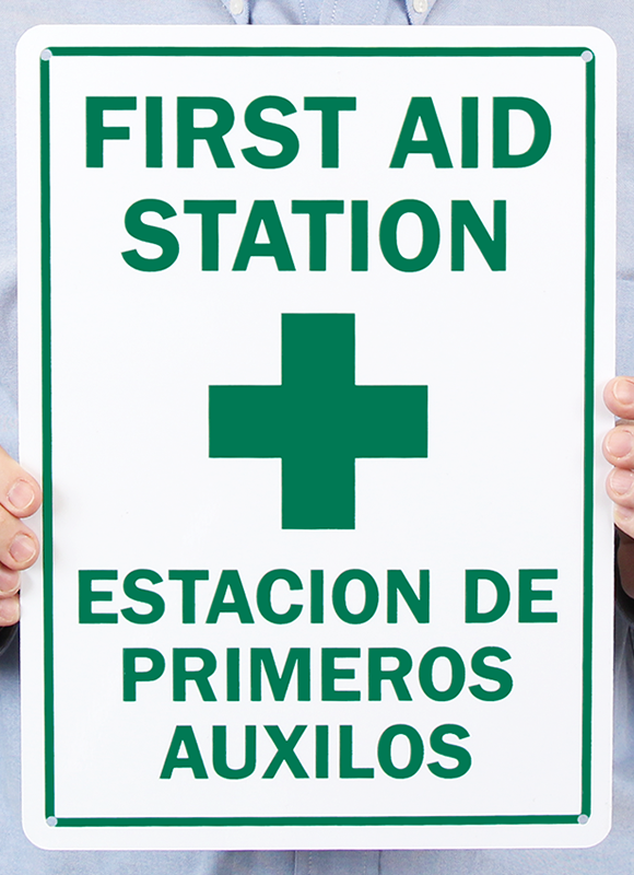 Bilingual First Aid Station, Estacion De Primeros Auxilos Signs