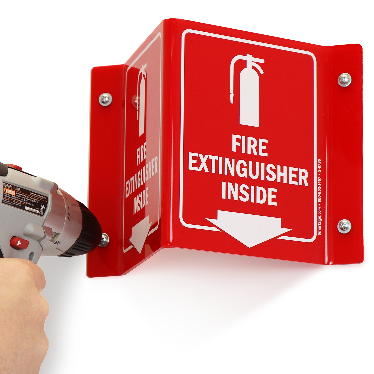 Fire Extinguisher Inside Signs with Down Arrow