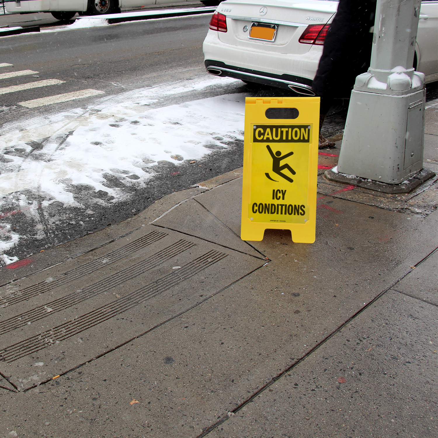 Caution Icy Conditions FloorBoss Signs