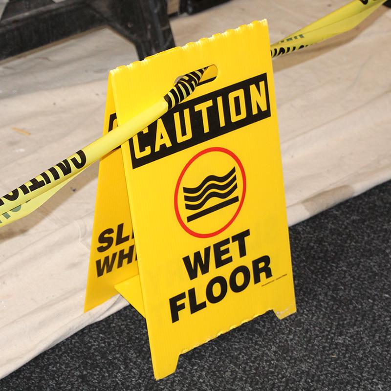 Wet floor slippery when wet reversible fold ups sign sku for Floor banner