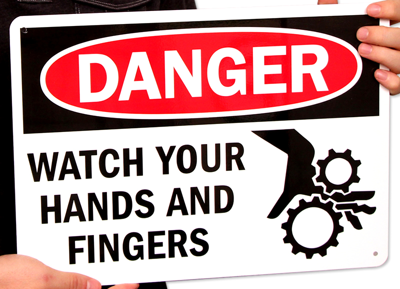 Danger Watch Your Hands and Fingers Signs
