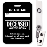 Deceased No Respiration Triage Tag