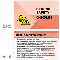 Digging Safety Checklist Heavy-Duty Laminated Safety Wallet Card