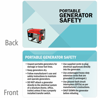 Portable Generator Safety Heavy-Duty Laminated Safety Wallet Card