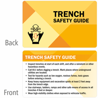 Trench Safety Guide Heavy-Duty Laminated Safety Wallet Card