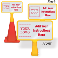 Add Your Instructions And Logo Custom ConeBoss Sign