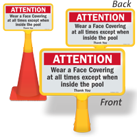 Attention Wear A Face Covering At All Times ConeBoss Sign