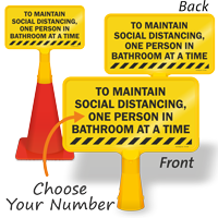 Choose Number of Person In Bathroom Social Distancing ConeBoss Sign