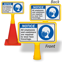 Employees Customers Are Required To Wear Face Coverings ConeBoss Sign