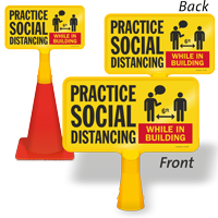 Practice Social Distancing In Building ConeBoss Sign