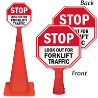 Stop Lookout for Forklift Traffic ConeBoss Sign