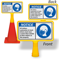 Visitors Contractors Truck Drivers Must Wear A Mask ConeBoss Sign