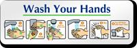 Wash Your Hands Diamond Plate Door Sign