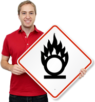 GHS Oxidizing Flame Over Circle Pictogram ISO Sign