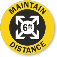 6ft. - Maintain Distance Hard Hat Decal