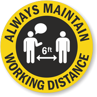 Always Maintain Working Distance Hard Hat Decal