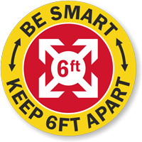 Be Smart - Keep 6ft Apart Hard Hat Decal