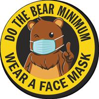 Do The Bear Minimum - Wear a Face Mask Hard Hat Decal