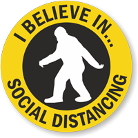 I Believe in... Social Distancing (Big Foot Clipart) Hard Hat Decal