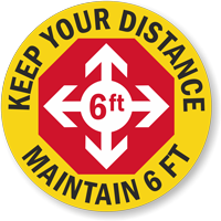 Keep Your Distance - Maintain 6ft Hard Hat Decal