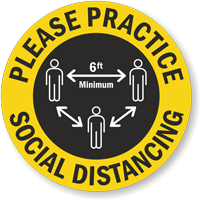 Please Practice Social Distancing Hard Hat Decal