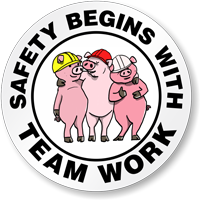 Safety Begins With Team Work Hard Hat Label