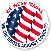 We Wear Masks - We Are United Against Covid-19 w/ Flag Hard Hat Decal
