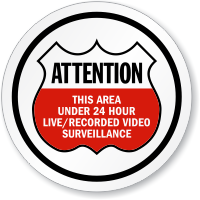 Attention 24 Hour Video Surveillance Shield ISO Sign