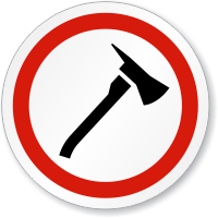 Fire Axe Symbol ISO Circle Sign