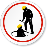 Confined Space, Restricted Area Symbol ISO Prohibition Sign