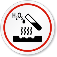 Corrosive H2 O5 Symbol ISO Circle Sign