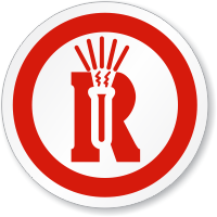 Dangerous Reactive Material Symbol ISO Circle Sign