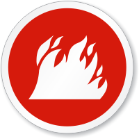 Fire Symbol ISO Circle Sign