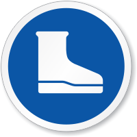 Wear Foot Protection Chemical Boots ISO Sign
