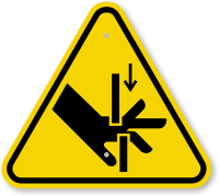 ISO Hand Crush, Moving Parts Symbol Warning Sign