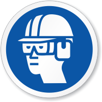 Wear Eye, Ear & Head Protection Symbol ISO Sign