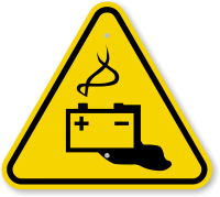 ISO Battery Hazard Symbol Warning Sign