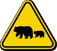 ISO Bears Crossing Symbol Warning Sign