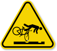 ISO Cyclist Trip Hazard Streetcar Tracks Symbol Sign