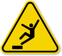 ISO Drop, Fall Hazard Symbol Warning Sign