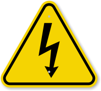 ISO Electrocution Symbol Triangle Warning Sign