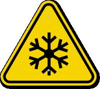 ISO Freezing Hazard, Frostbite Symbol Warning Sign