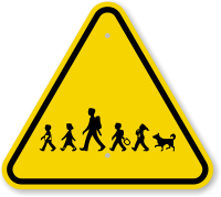 ISO School Kids and Dog Crossing Symbol Sign