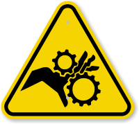 ISO Pinch Point, Entanglement, Crush Gears Symbol Sign