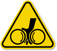 ISO Pinch Point Hand Warning Symbol Sign
