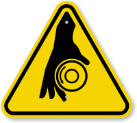 ISO Rotating Shaft Symbol Warning Sign