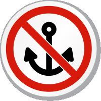 No Anchoring Symbol ISO Prohibition Circular Sign